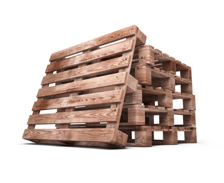 Stack of wooden pallets close-up isolated on white background. 3d illustration. illustration