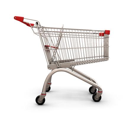 carretilla de mano: Carro de compras vacío, la vista lateral, aisladas sobre fondo blanco. 3d ilustración.