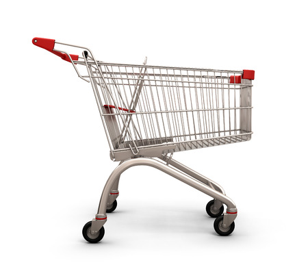 pushcart: Empty shopping cart, side view, isolated on white background. 3d illustration.