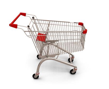 carretilla de mano: Carro de compras vac�o aislado sobre fondo blanco. 3d imagen.