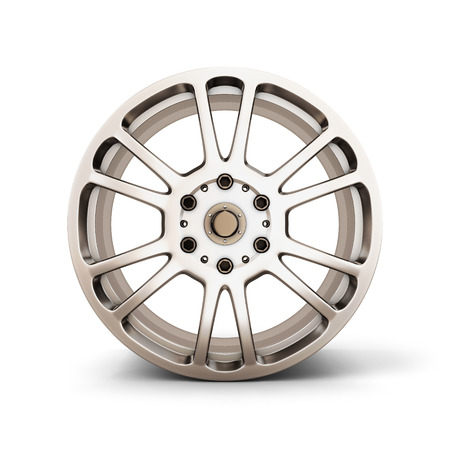 Alloy Wheel Rim front view isolated on white background. 3d render image. photo