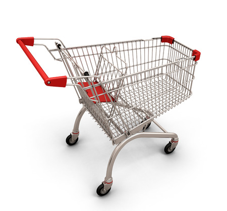 pushcart: Empty shopping cart isolated on white background. 3d illustration.
