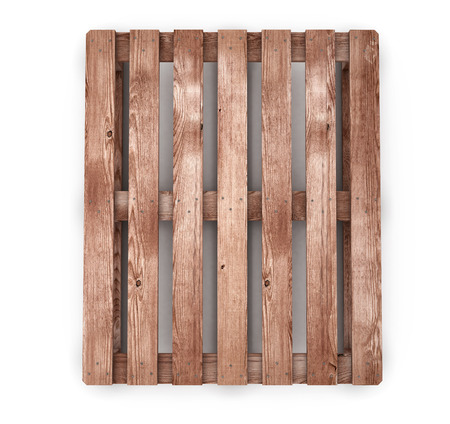 work crate: Old wooden shipping pallet front view isolated on white background. 3d render image.