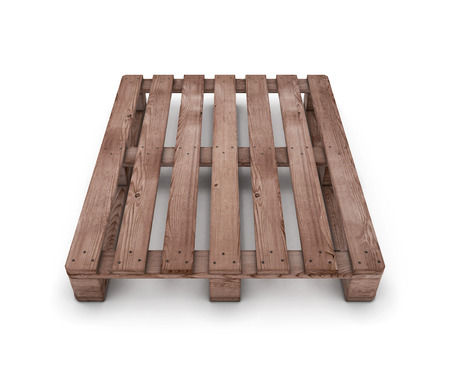Old wooden shipping pallet isolated on white background. 3d illustration. illustration