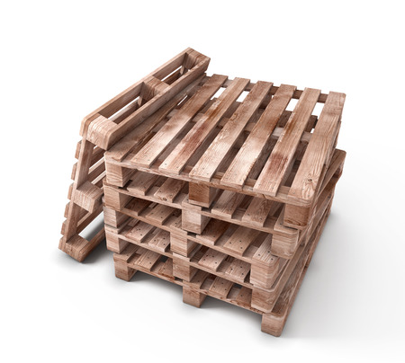 Stack of wooden pallets isolated on white background. 3d illustration. illustration