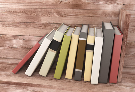 wooden shelf: Books on the wooden shelf. 3d illustration.