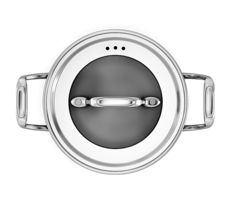 saute: Pan for cooking on a white background the top view isolated on white background. 3d illustration. Stock Photo