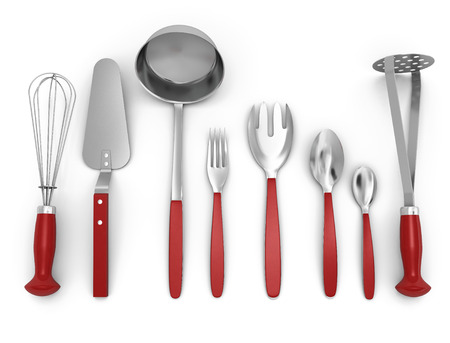 daily use item: Set of kitchen utensils isolated on white background. 3d illustration.