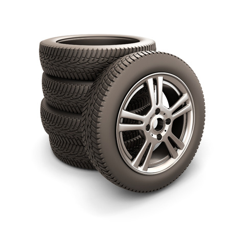 Stack of car tires and car wheel isolated on white background. 3d illustration. illustration