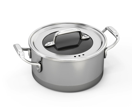 stainless steel pot: Stainless pan isolated on white background. 3d illustration.