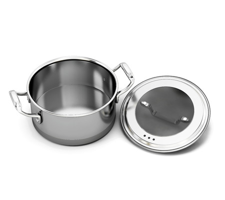 steel pan: Plato de acero inoxidable para cocinar con la tapa abierta. 3d ilustraci�n. Foto de archivo
