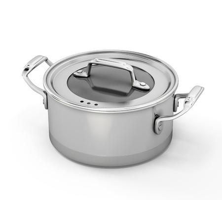 steel pan: Plato de acero inoxidable para cocinar aislados en fondo blanco. 3d ilustraci�n. Foto de archivo