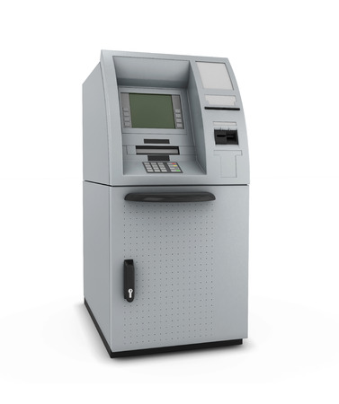 automated teller machine: ATM isolate on white background. Automated teller machine. 3d illustration. Stock Photo