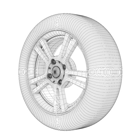 Wheel on a white wire model. 3d illustration. Фото со стока