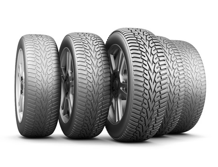 vulcanization: Wheels with different wear of a protector. Concept of speed and safety. 3d illustration.