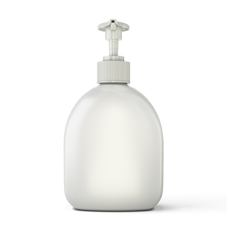 Bottle template for soap front view isolated on white background. 3d illustration.