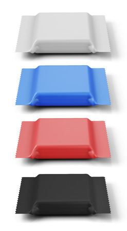 Set of packings of different color for a biscuit. 3d illustration. illustration