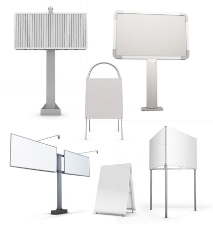 Set of various street billboards isolated on white background. 3d illustration.