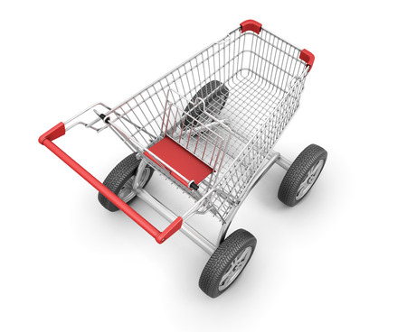 Concept shopping cart with car wheels on a white. 3d render image. photo