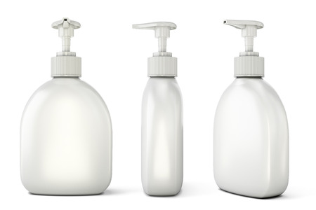 lotion bottle: Template of bottles with liquid soap for your design. Set of bottles with liquid soap from different types. 3d illustration. Stock Photo