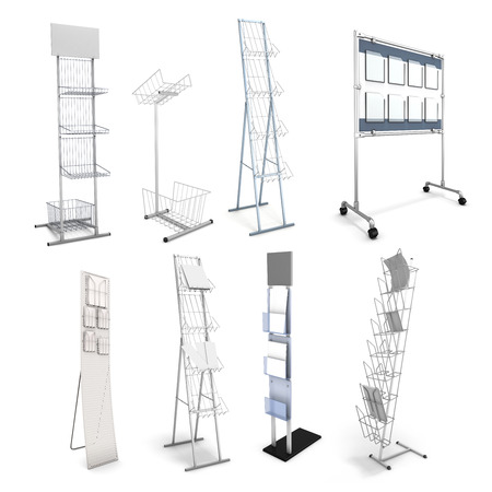 Set of various stands for promotional materials. Advertizing racks for information materials. 3d illustration. illustration
