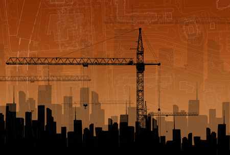 Construction cranes on the background buildings. The concept of building photo
