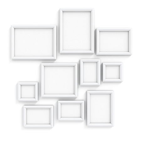image size: Blank frameworks of the different size for pictures and photos on a wall. 3d illustration.