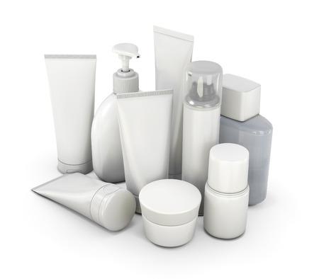 化粧品は様々 な手段から白い背景上に設定します。3 d イラスト。 写真素材