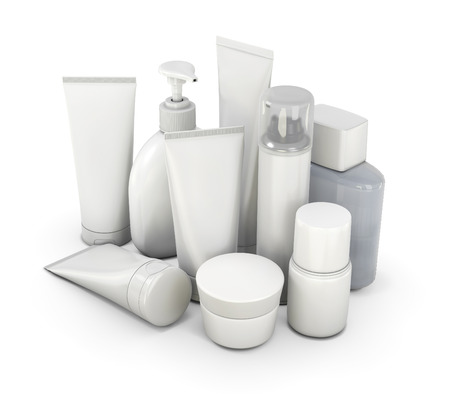 product placement: Cosmetic set from various means on a white background. 3d illustration.