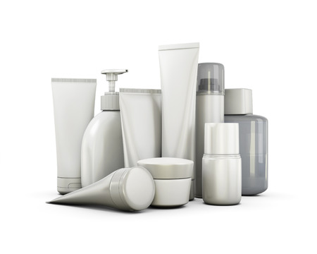 merchandise: Cosmetics set on a white background. 3d illustration.