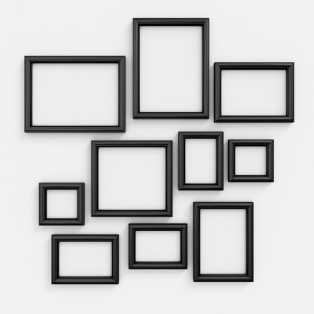 Empty black frameworks of the different size for pictures and photos on a wall. 3d illustration.