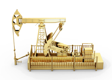 roughneck: Gold oil pump isolated on white background. 3d illustration. Stock Photo