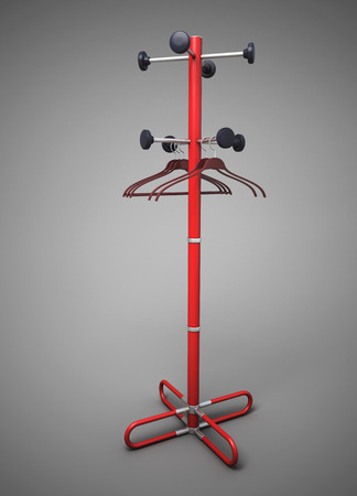clothes rail: Rack with a coat hanger for clothes close-up. 3d illustration. Stock Photo