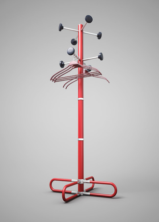 Rack with a coat hanger for clothes. 3d illustration.