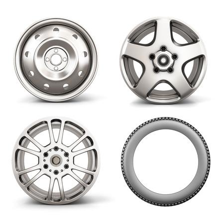 자동차 및 흰색 배경에 고립 된 타이어에 대 한 세 가지 디스크에서 설정합니다. 3d 일러스트 레이 션. 스톡 콘텐츠
