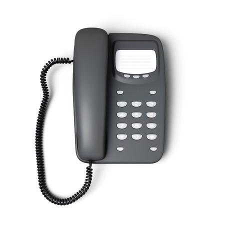 cable telefono: Pulsador vista superior telefónica Papelería aislado en fondo blanco. 3d ilustración. Foto de archivo