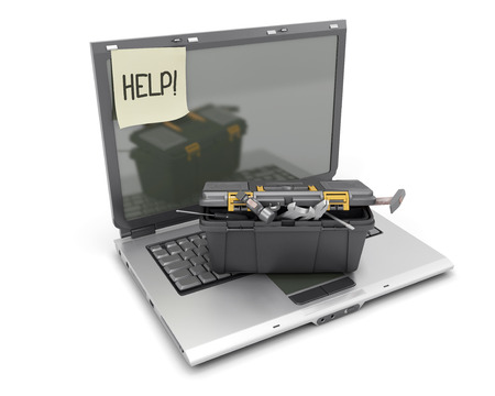 The laptop with a box from tools on the keyboard and a sticker about the help. 3d render image.