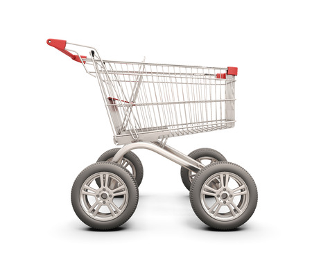 Trolley with wheels from the car. The concept of discounts in shops. 3d illustration. illustration