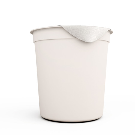 White food kontener for yogurts close-up on a white background. 3d illustration. illustration