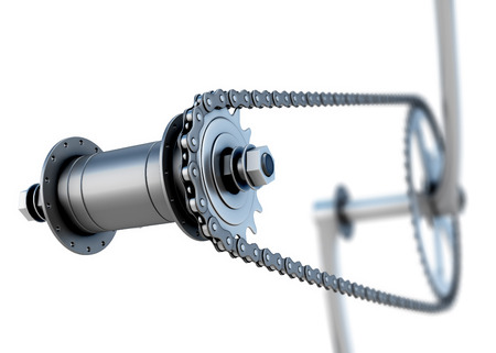 pedals: Bicycle chain with pedals on a white. 3d illustration. Stock Photo