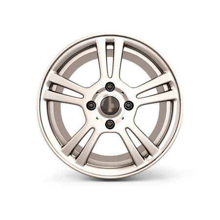 alloy: Alloy Wheel Rim front view isolated on white background. 3d illustration. Stock Photo