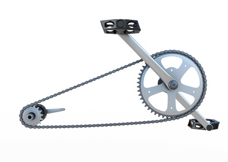 fixed disk: Bicycle chain with pedals front view isolated on white background. 3d render image. Stock Photo