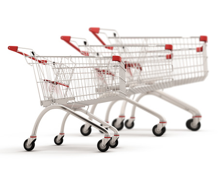 trolly: Carts for shopping of the different sizes built in a row isolated on white background. 3d illustration.