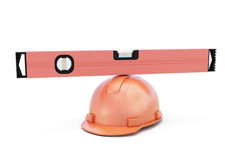 looking straight: Conceptual image of a construction level on a helmet. 3d illustration.