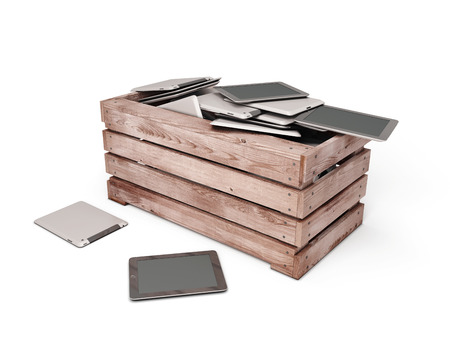 dumped: Tablet pc are dumped in an wooden box. 3d illustration.