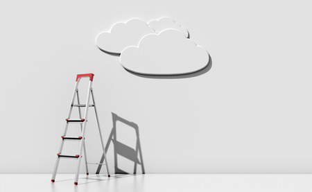 stepladder: Step-ladder against a wall with a cloud. Abstract illustration concept. 3d render image. Stock Photo