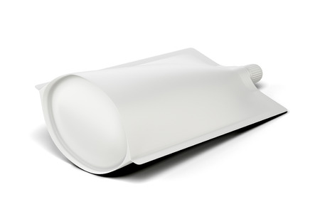 spout: Lying white template package Doypack for your design. Bag packaging with lid. 3d illustration.