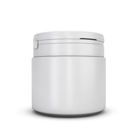 fastener: Template white plastic can for products. Plastic can with a fastener. White blank can for your design. Stock Photo