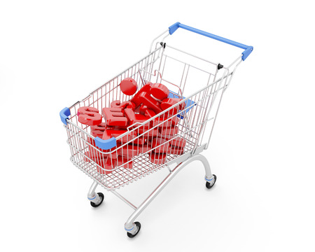 trolly: Trolley Discount isolated on white background. 3d illustration.