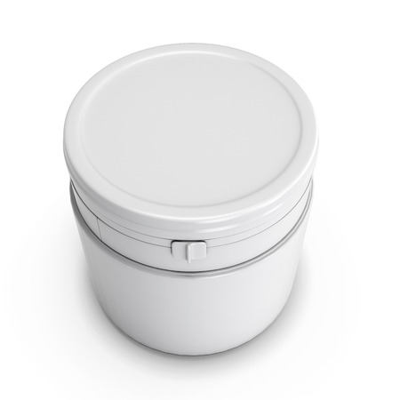 fastener: White plastic can for products. Plastic can with a fastener. White blank can for your design.